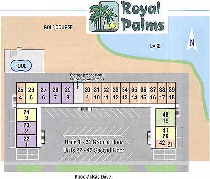 Layout of the Royal Palms Condos in Titusville, Florida